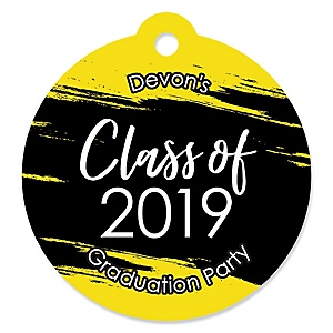 Yellow Grad - Best is Yet to Come - Round Personalized 2019 Graduation Party Die-Cut Tags - 20 ct