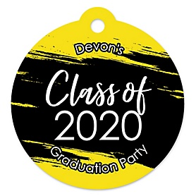 Yellow Grad - Best is Yet to Come - Round Personalized 2020 Graduation Party Die-Cut Tags - 20 ct