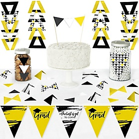 Yellow Grad - Best is Yet to Come - DIY Pennant Banner Decorations - Yellow Graduation Party Triangle Kit - 99 Pieces