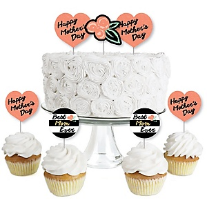 Best Mom Ever - Dessert Cupcake Toppers - Mother's Day Clear Treat Picks - Set of 24