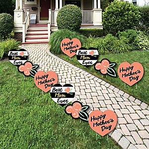 Best Mom Ever - Lawn Decorations - Outdoor Mother's Day Party Yard Decorations - 10 Piece