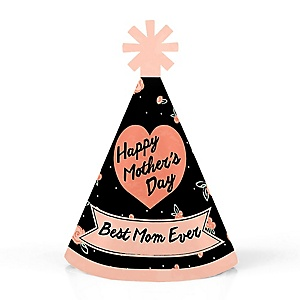Best Mom Ever  - Personalized Mini Cone Mother's Day Party Hats - Small Little Party Hats - Set of 10