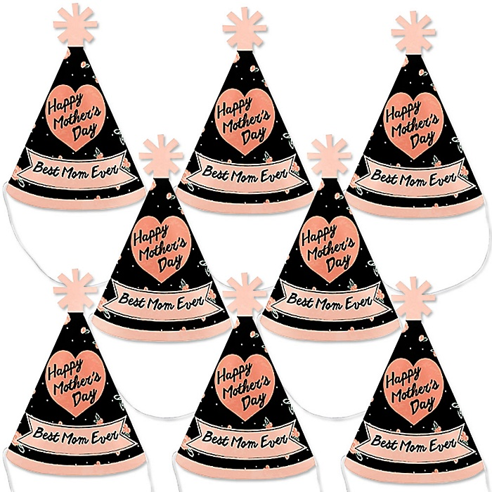 Best Mom Ever  - Mini Cone Mother's Day Party Hats - Small Little Party Hats - Set of 8