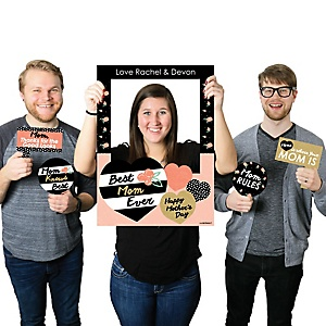 Best Mom Ever - Personalized Mother's Day Party Selfie Photo Booth Picture Frame & Props - Printed on Sturdy Material