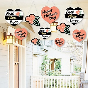 Hanging Best Mom Ever - Outdoor Mother's Day Party Hanging Porch & Tree Yard Decorations - 10 Pieces