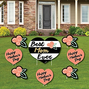 Best Mom Ever - Yard Sign & Outdoor Lawn Decorations - Mother's Day Party Yard Signs - Set of 8