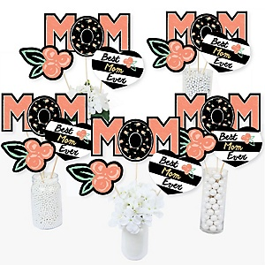 Best Mom Ever - Mother's Day Centerpiece Sticks - Table Toppers - Set of 15