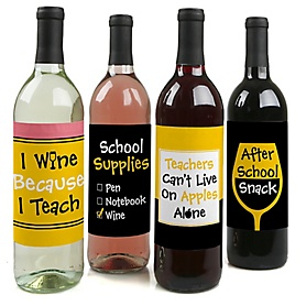 Best Teacher Gift - Teacher Appreciation Christmas Gift Decorations for Women and Men - Wine Bottle Label Stickers - Last Day of School Gifts for Teachers - Set of 4