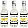 Best Teacher Gift - Mini Wine and Champagne Bottle Label Stickers - Teacher Appreciation Gift - Set of 16