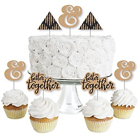 Better Together - Dessert Cupcake Toppers - Wedding or Bridal Shower Party Clear Treat Picks - Set of 24