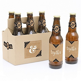 Better Together - Wedding - Decorations for Women and Men - 6 Beer Bottle Label Stickers and 1 Carrier