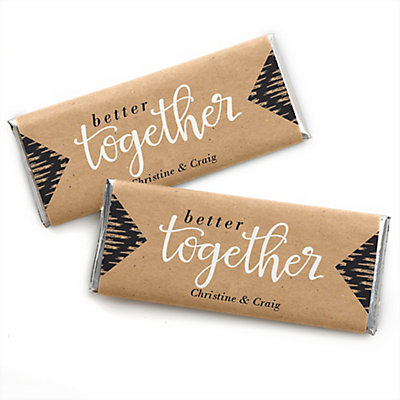 better together personalized candy bar wrappers wedding favors
