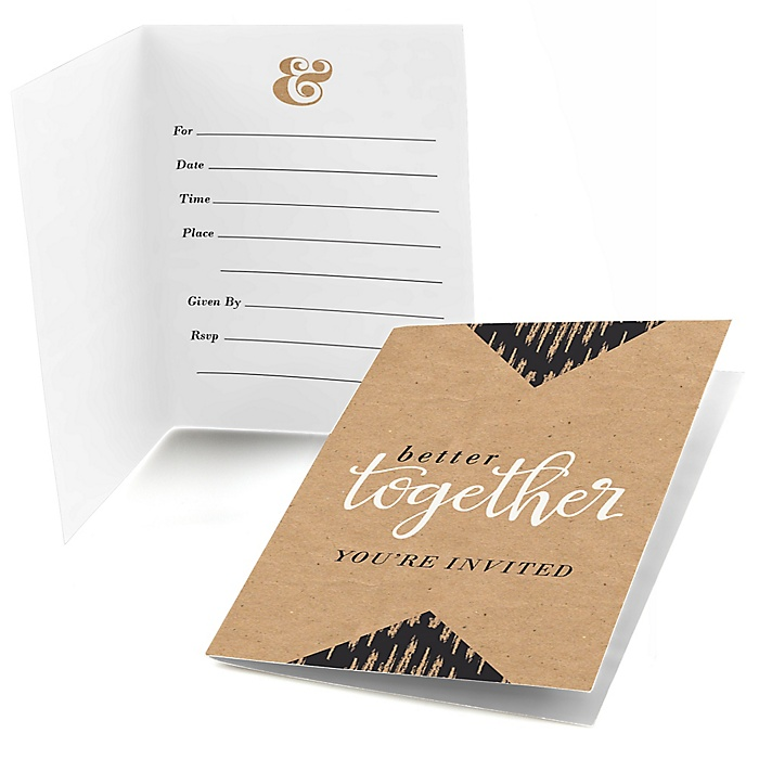 Better Together - Bridal Shower Fill In Invitations - 8 ct