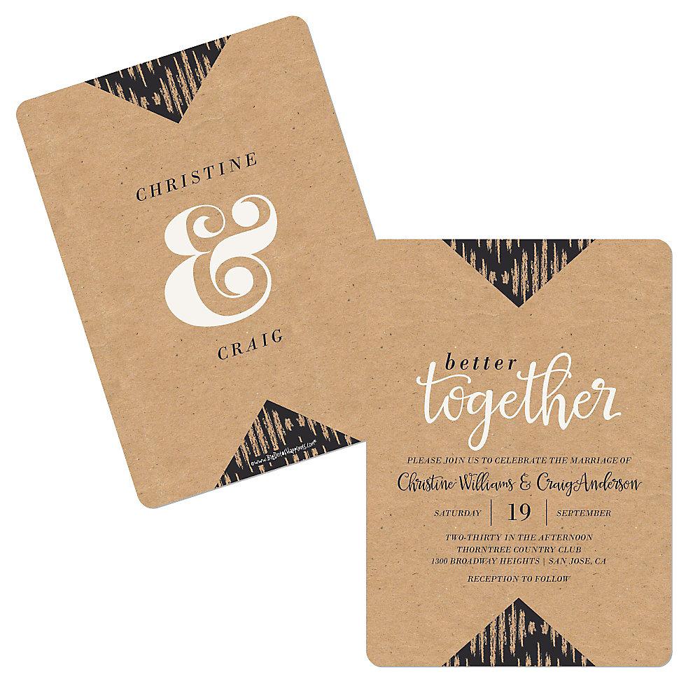 Better Together Shaped Wedding Invitations Set Of 12
