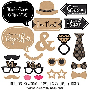 Better Together - 20 Piece Wedding Photo Booth Props Kit