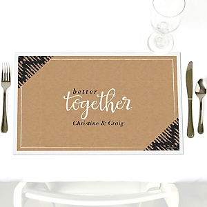 Better Together - Party Table Decorations - Personalized Wedding Placemats - Set of 12