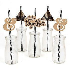 Better Together - Paper Straw Decor - Wedding Party Striped Decorative Straws - Set of 24