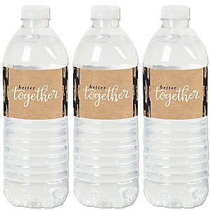 Better Together - Wedding or Bridal Shower Water Bottle Sticker Labels - Set of 20