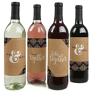 Better Together - Wedding Decorations for Women and Men - Wine Bottle Label Stickers - Set of 4