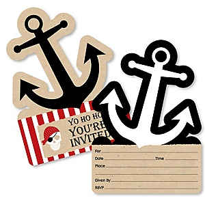 Beware of Pirates - Shaped Fill-In Invitations - Pirate Birthday Party Invitation Cards with Envelopes - Set of 12