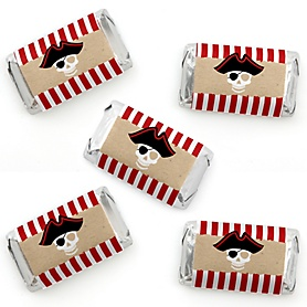 Beware of Pirates - Mini Candy Bar Wrapper Stickers - Pirate Birthday Party Small Favors - 40 Count