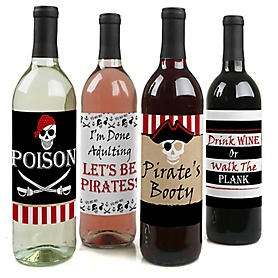 Beware of Pirates - Pirate Birthday Party Decorations for Women and Men - Wine Bottle Label Stickers - Set of 4