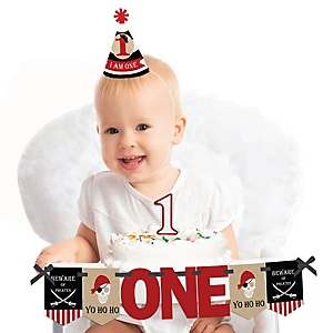 Beware of Pirates 1st Birthday - First Birthday Boy or Girl Smash Cake Decorating Kit - High Chair Decorations