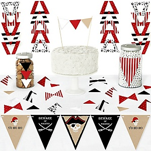 Beware of Pirates - DIY Pennant Banner Decorations - Pirate Birthday Party Triangle Kit - 99 Pieces