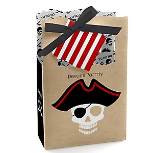 Beware of Pirates - Personalized Birthday Party Favor Boxes - Set of 12