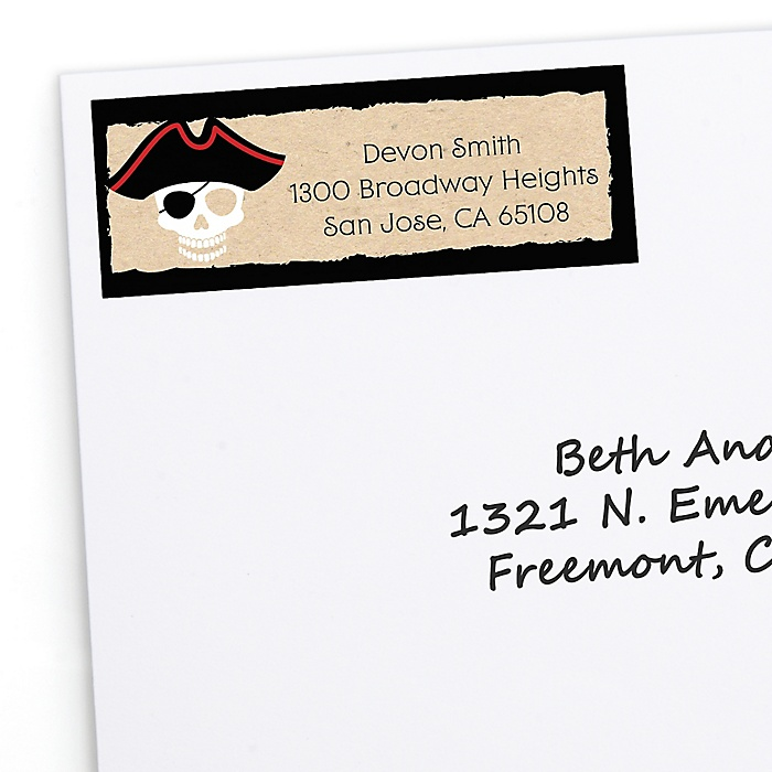 Beware of Pirates - Personalized Birthday Party Return Address Labels - 30 ct