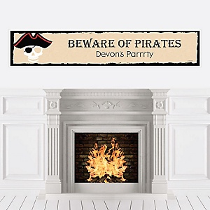 Beware of Pirates - Personalized Birthday Party Banner