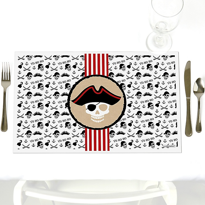 Beware of Pirates - Party Table Decorations - Birthday Party Placemats - Set of 12
