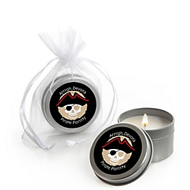 Beware of Pirates - Personalized Birthday Party Candle Tin Favors - Set of 12