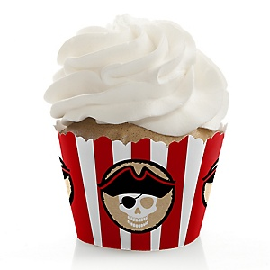 Beware of Pirates - Birthday Decorations - Party Cupcake Wrappers - Set of 12