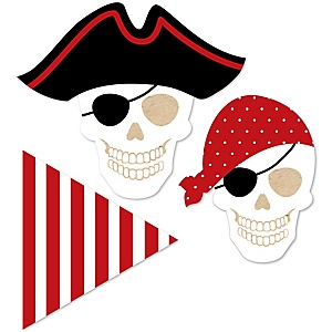 Beware of Pirates - DIY Shaped Birthday Party Paper Cut-Outs - 24 ct