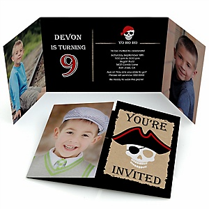 Beware of Pirates - Personalized BirthdayParty Photo Invitations - Set of 12