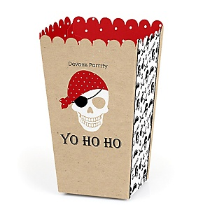 Beware of Pirates - Personalized Birthday Party Popcorn Favor Treat Boxes - Set of 12