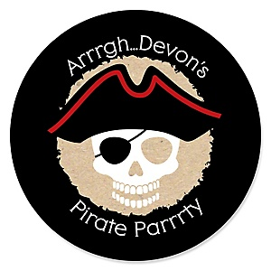 Beware of Pirates - Personalized Birthday Party Sticker Labels - 24 ct