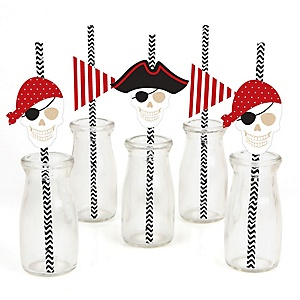 Beware of Pirates - Paper Straw Decor - Birthday Party Striped Decorative Straws - Set of 24