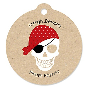 Beware of Pirates - Round Personalized Birthday Party Tags - 20 ct