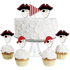 Beware of Pirates - Dessert Cupcake Toppers - Pirate Birthday Party Clear Treat Picks - Set of 24