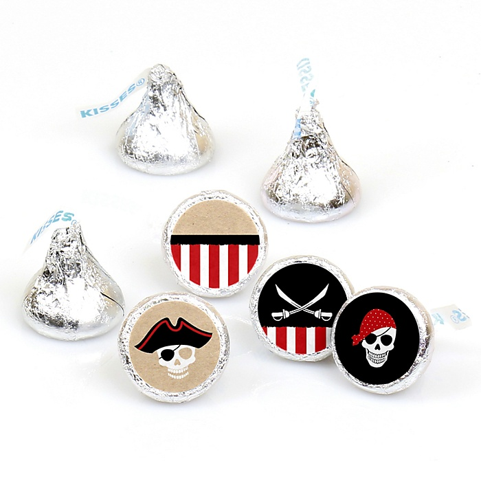 Beware of Pirates - Round Candy Labels Birthday Party Favors - Fits Hershey's Kisses - 108 ct