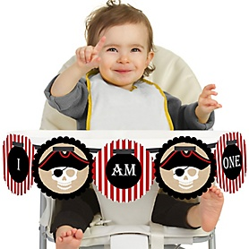 Beware of Pirates 1st Birthday - I am One - First Birthday High Chair Banner