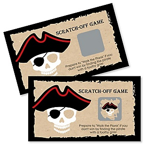 Beware of Pirates - Birthday Party Game Scratch Off Cards - 22 ct