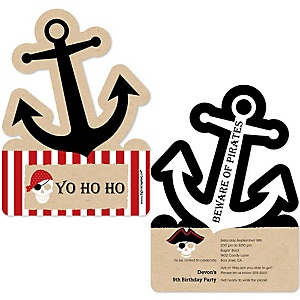 Beware of Pirates - Shaped Pirate Birthday Party Invitations - Set of 12