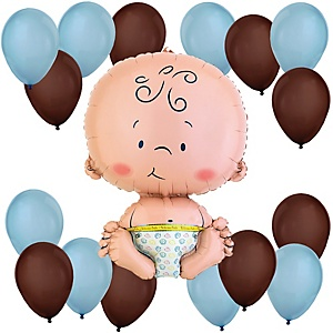 Boy - Blue and Brown Baby Shower Balloon Kit