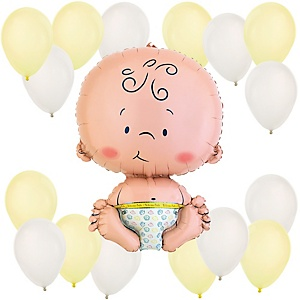 Baby - Yellow and White Baby Shower Balloon Kit