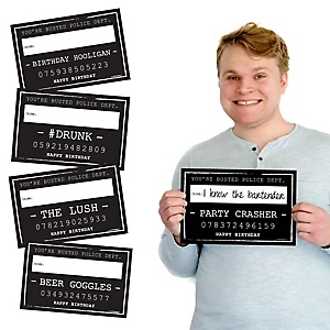 Birthday Party Mug Shots - 20 Piece Birthday Party Photo Booth Props Kit