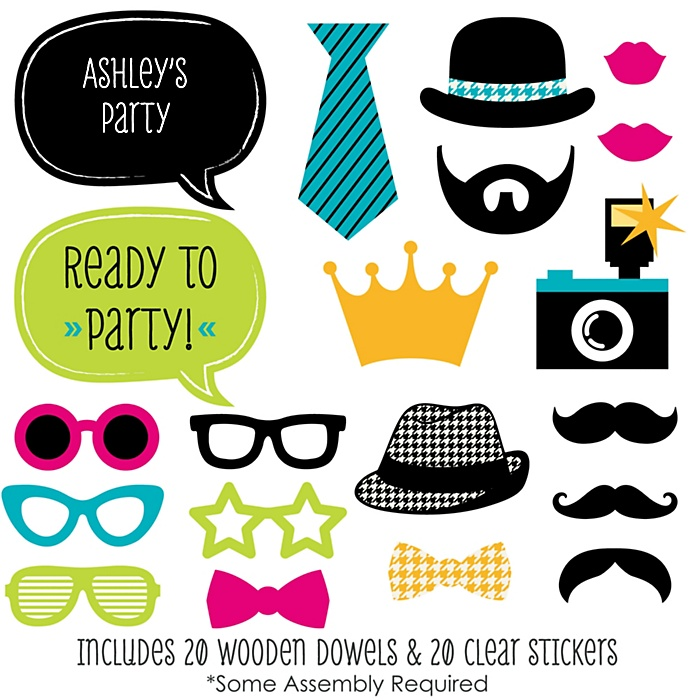 Ready To Party - Photo Booth Props for Kids - 20 Count