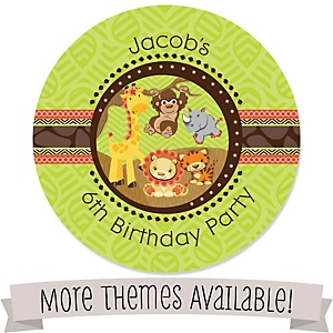 Birthday Party Personalized Round Stickers